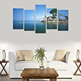 Custom Made sea sky landscape Canvas Prints Bedroom or Living Room Features Decorative Murals 5 Oil Paintings on Canvas (No Frames)