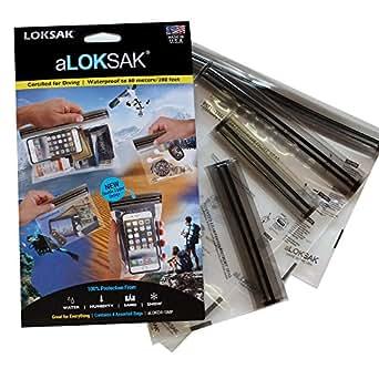"""LOKSAK aLOKSAK Waterproof Bags - Small Multipack (4.75"""" x 4"""", 4""""x 6.5"""", 6.25""""x 5.25"""",8.4""""x 5.25"""" ,8.4""""x 5.25"""" )"""