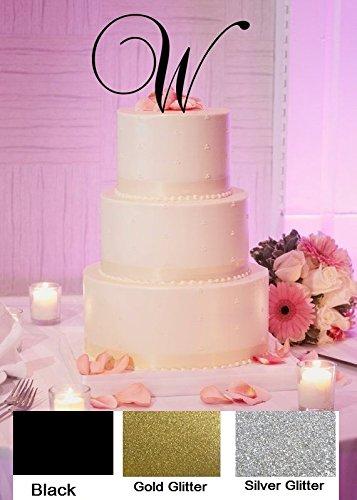 Monogram Inital Letter Acrylic Cake Topper Wedding A B C D E F G H I J K L M N O P Q R S T U V W X Y Z & (W, Glittery Gold)