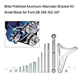 Festnight Ford 351 Alternator Bracket Billet Polished Aluminum Alternator Bracket Kit Small Block for Ford SB 289 302 347