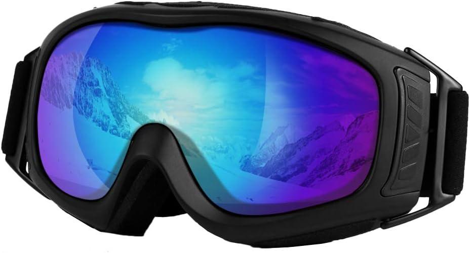 UNILAMP Ski Goggles, Over Glasses Ski Snowboard Goggles PRO – Frameless Detachable Lens Anti-Fog 100 UV Protection for Men, Women Youth