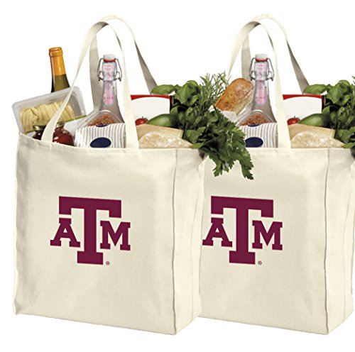 Reusable Texas A&M Shopping Bags or Texas A&M Aggies Grocery Bag 2Pc SET NATURAL COTTON by Broad Bay
