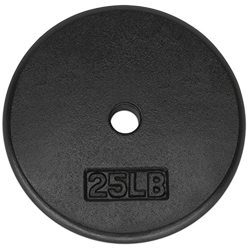 Yes4All T7UN 1-inch Cast Iron Weight Plates for Dumbbells – Standard Weight Disc Plates (25 lbs, Single)