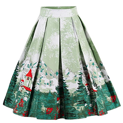 Dressever Women's Vintage A-line Printed Pleated Flared Midi Skirts Christmas Trees X-Small