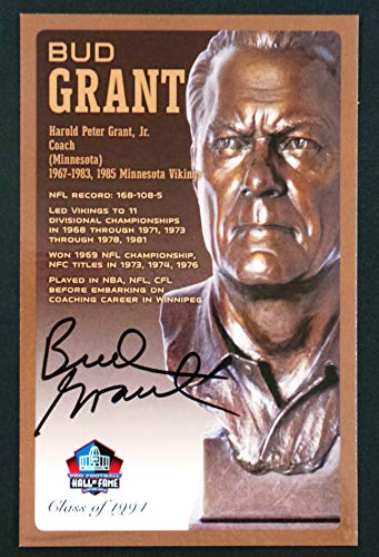 (PRO FOOTBALL HALL OF FAME Bud Grant Minnesota Vikings Signed Bronze Bust Set Autographed Card with COA (Limited Edition #95 of 150))