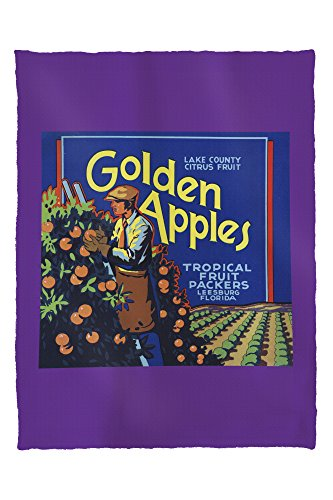 Leesburg, Florida - Golden Apples Brand Citrus Label (60x80 Poly Fleece Thick Plush - Premium Leesburg