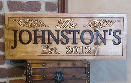 Personalized Family Name Swirl Signs CARVED Custom Wooden Sign Last name Wedding Gift Established Anniversary custom personalized sign