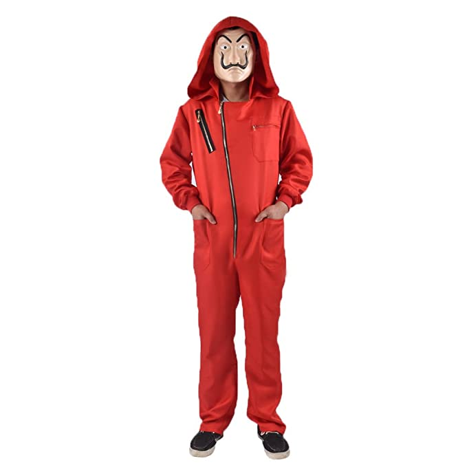Unisex Dali Red Costume for La Casa De Papel Jumpsuits with Mask