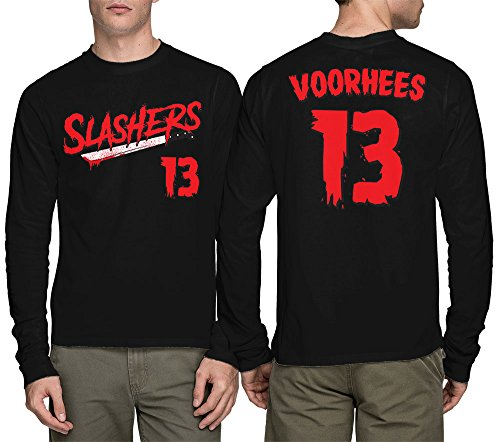 HAASE UNLIMITED Long Sleeve Men's Slashers Voorhees 13 Jersey Shirt (Black, XXX-Large)]()