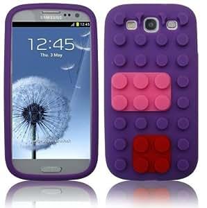 SKS Distribution® púrpura silicona ladrillo Módulo BLOCK FUNDA / CARCASA / COVER para Samsung Galaxy S3 I9300