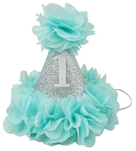 PoshPeanut Beautiful Baby Crown Headband Princess First Birthday Cone Hat Silver Aqua Made in the (Homemade Christmas Costume Ideas Men)