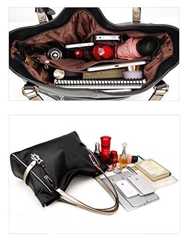 Mataga Premium Shoulder Fashion Women's Tote Jhfx962023 Leather Large Black Soft Modern Handle Handbags Ladies Package Bags qrXrtwROx