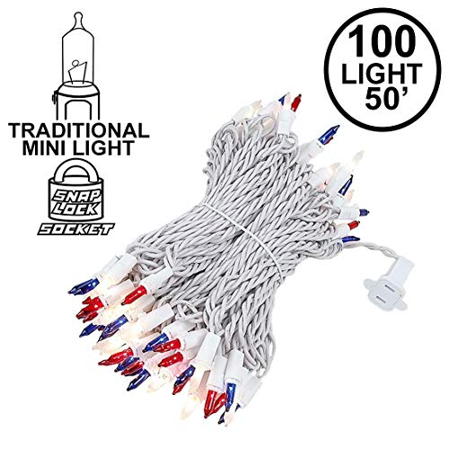 - Novelty Lights 100 Light Red/White/Blue Christmas Wedding Mini String Light Set, White Wire, Indoor/Outdoor UL Listed, 50' Long