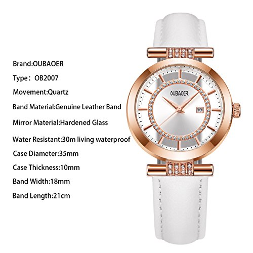 Womens Quartz Watch OUBAOER Crystal Accented Leather Band Watch for Women Transparent Watch with Date Lady Wristwatches for Business(Rose White) by OUBAOER (Image #1)
