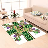 Nalahome Custom carpet ltic Knot Design on Christian Cross Icon Wreath Flowers Retro Floral Welsh Pattern Mustard Green area rugs for Living Dining Room Bedroom Hallway Office Carpet (5' X 7')