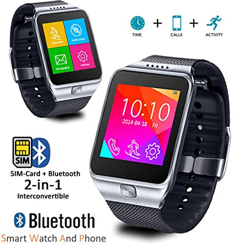 iOS???????OS????Indigi?2??1?Bluetooth??+ GSM??????????????????? - Indigi? 2-in-1 Bluetooth Sync + GSM Wireless Smart Watch Compatible for iOS Android OS (Silver)