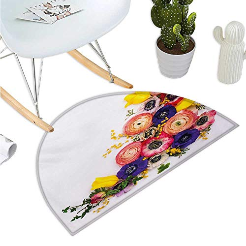 Anemone Flower Semicircular Cushion Festive Floral Composition with English Roses Fresh Buttercups and Herbs Entry Door Mat H 31.5