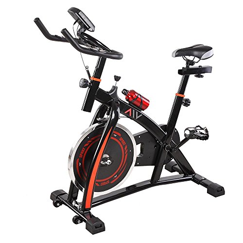 GHP Black LCD Display Chain-drive Mechanism Exercise Bike with Sport Bottle & Mat Globe House Products
