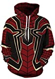 AMOMA Unisex Realistic 3D Digital Print Pullover Hoodie Hooded Sweatshirt (Small/Medium, Spider)