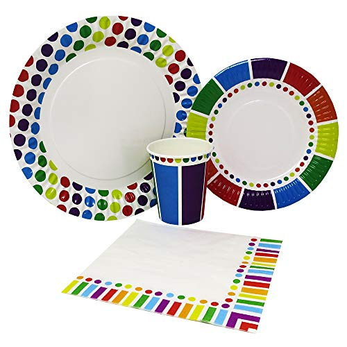 Blue Orchards Rainbow Party Standard Party Packs (65+ Pieces for 16 Guests!), Colorful Party Tableware, Rainbow Party Supplies