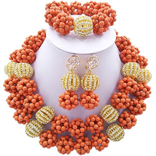 Laanc 2rows Rouge Collier de perles Turquoise et strass Doré du Nigeria africain pour femme parures de bijoux-(Orange Rouge et strass Doré)