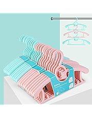 Bamny lot de 10 PCS Cintre Enfant Extensibles, Cintres Bébés Multifonctionnels, 5 Porte-Manteau Enfant avec Crochet + 5 Cintres-Pinces pour Pantalons d'Dauphin Mignons, Légers et Solides, rose