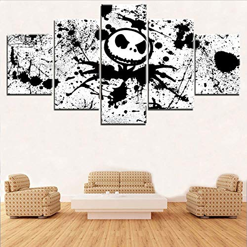 Fbhfbh Home Decoration Canvas Painting Hd Prints The Nightmare Before Christmas 5 Pieces Movie Wall Art Modular Pictures Artwork Poster,12X16/24/32Inch,with Frame]()