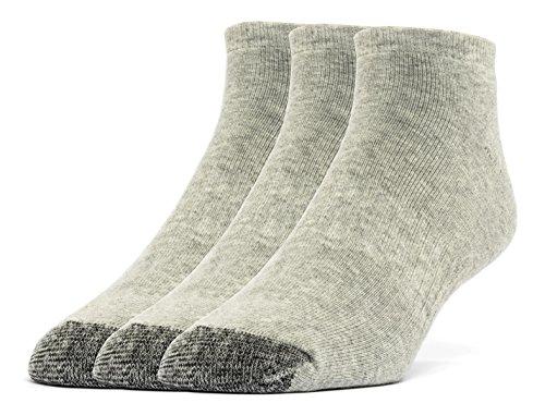 Gray Quarter Socks (Galiva Men's Cotton Extra Soft Ankle Cushion Socks - 3 Pairs, Large, Grey)