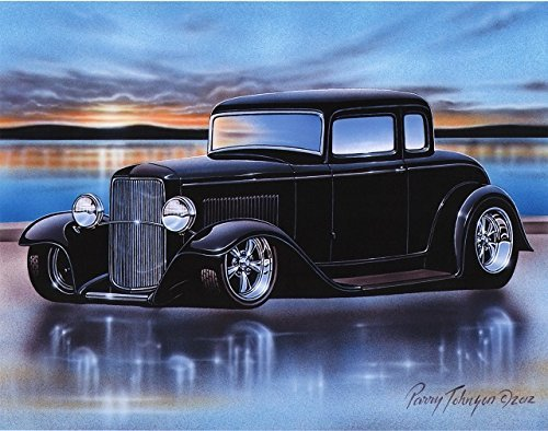 1932 Ford 5 Window Coupe Streetrod Car Art Print Black 11x14 Poster