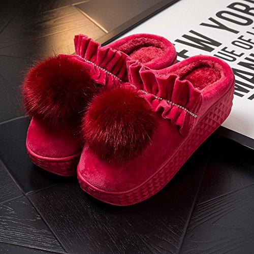 Hiver Fankou Chaussons D'intérieur, Charmantes Chaussures Épaisses, Pantoufles En Coton Anti-dérapant Hiver Coton Chaud E, 3435, Rouge