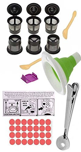 BEANS Bramd Refillable K-Cup Bundle:for 2.0 Keurig brewers: Feedom/All-Menu clip, no-drip generic (now incl 6) K-Cups & 2 sm scoops + 1T SS scoop & bag clip combo, folding funnel, instructions, more