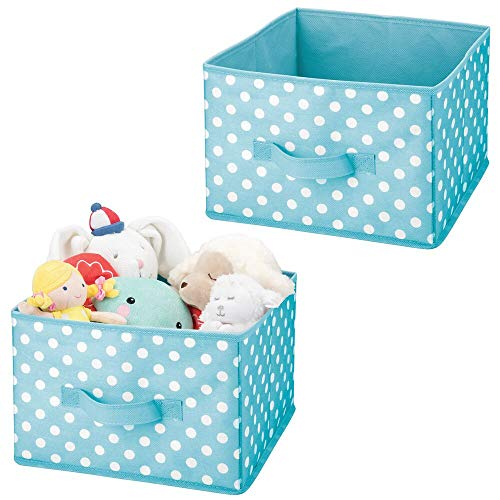 mDesign Soft Fabric Closet Storage Organizer Holder Box Bin - Attached Handle, Open Top, for Child/Kids Bedroom, Nursery, Toy Room - Fun Polka Dot Print - Medium, 2 Pack - Turquoise Blue/White Dots
