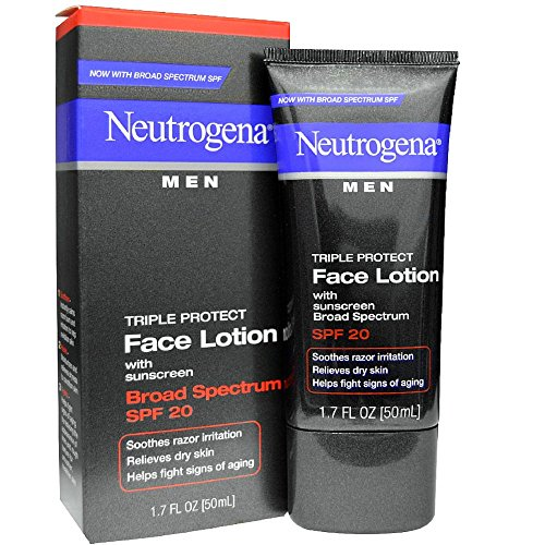 Neutrogena Triple Protect Face Lotion - Neutrogena Triple Protect Men's Daily Face Lotion with Broad Spectrum SPF 20 Sunscreen, Moisturizer to Fight Aging Signs, Soothe Razor Irritation & Relieve Dry Skin, 1.7 fl. oz (Pack of 5)