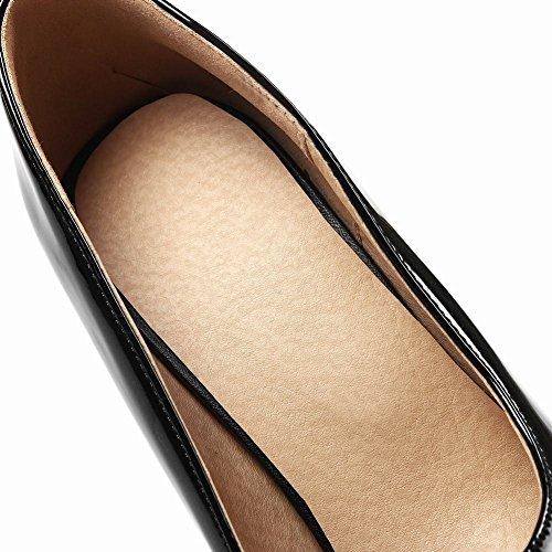 YE Damen Stiletto Spitze Pumps Lack High Heels Plateau mit 12cm Absatz Elegant Schuhe Schwarz