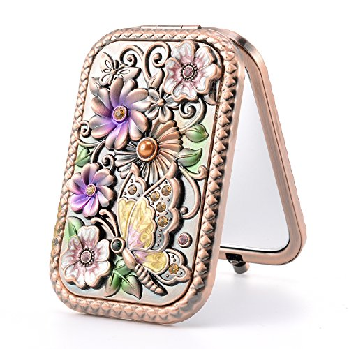 Butterfly Princess Mirror (Nerien Women's Magnifying Vintage Foldable Metal Princess Style Butterfly Flower Russian Style Purse Mirror Portable Travel Mirror Copper)