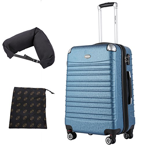 4 Expandable Wheel Luggage (Lightweight Expandable Hardside Spinner Carry On Luggage, TSA 4 Double Wheels Scratch Resistant Carry Ons, Free Gifts Inside, 20 inch, Dark Blue)