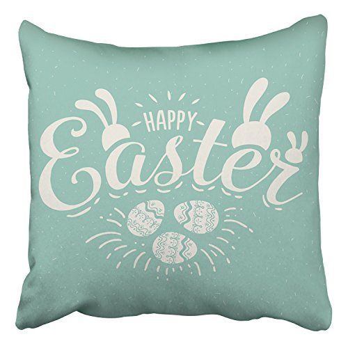Emvency Throw Pillow Covers Happy Easter Rabbit Ears Template Retro Vintage Banner Decor Pillowcases Polyester 16 X 16 Inch Square Hidden Zipper Home Cushion Decorative Pillowcase