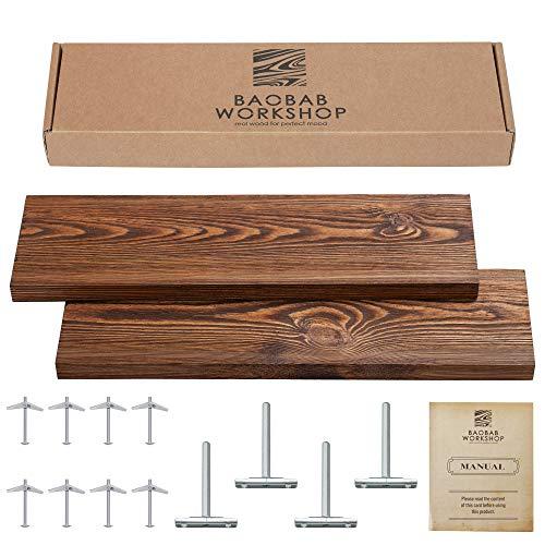 "Wood Floating Shelves Set of 2 - Rustic Floating Shelves 24 inch - Made in Europe - Wide Wooden Wall Shelves For Living Room Bedroom Kitchen Bathroom Farmhouse - Dark Walnut Color - 24"" x 6.7"""