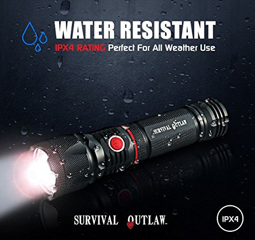 Bright Cree LED Tactical Flashlight Lantern - Magnetic Base - COB Work Light - Red Emergency Strobe - Water Resistant - AAA by SURVIVAL OUTLAW (Image #4)
