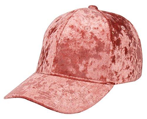 FEOYA Fashion Women Adjustable Velours Baseball Cap Iron Hoop Hat Size 56-58cm - Pink -