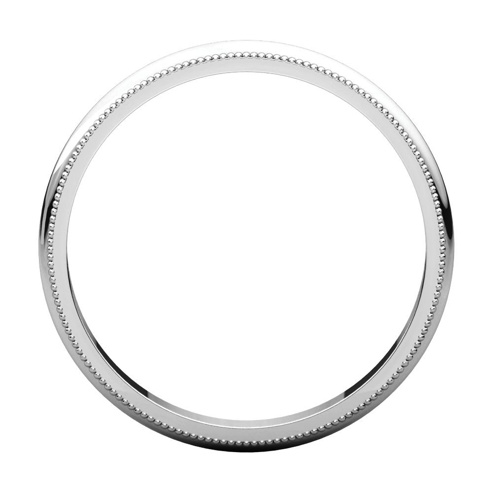 Size 14 Bonyak Jewelry 18k White Gold 2.5 mm Milgrain Band