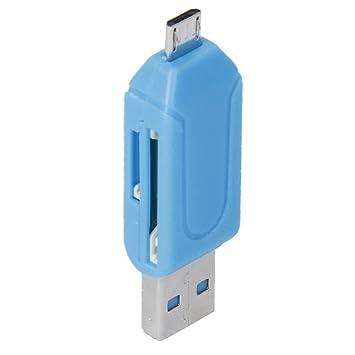 Angelo Caro™USB 2.0 + Micro USB OTG SD ST Lector De Tarjeta Para Teléfono Celular Tableta PC (Azul)