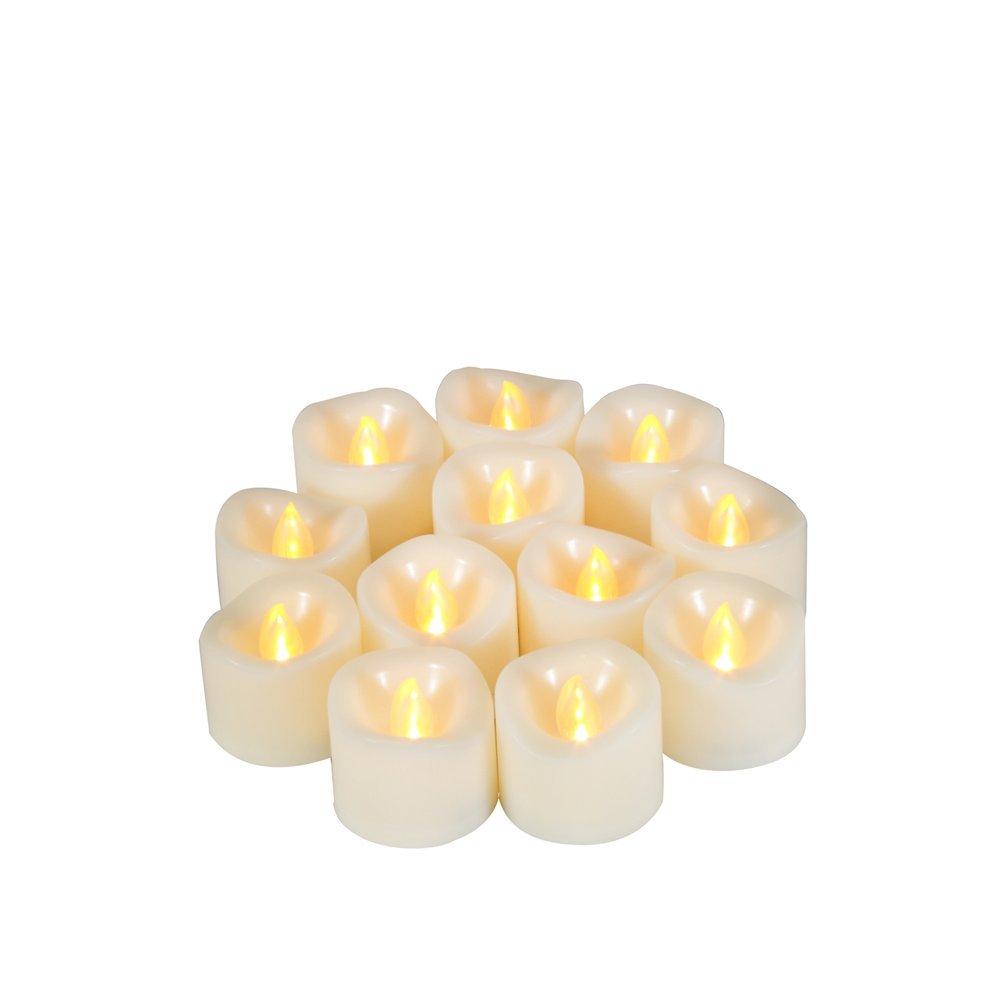 Flameless Candles – リアルなLEDちらつきティーライトとタイマー – 6hrs on and 18時間オフ、電池式Votive Candle、長いバッテリー持続時間、200 +時間、電池付属[ 12パック] B073RCM5P7