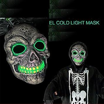 SOUTHSKY Nueva Muerte Mascara de Calavera con la Moda Brillante, frío de luz Verde para