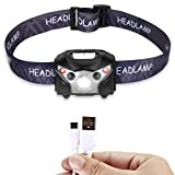 LED Headlamp Rechargeable Flashlight Sensor 4 Modes Super Bright 160 Lumen with Red Light Waterproof (USB Cable Included)