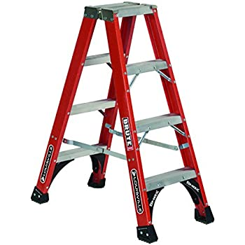 Louisville Ladder FM1404HD Fiberglass Twin Front Ladder, 4-Feet, 375-Pound Duty Rating