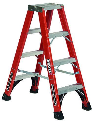 Ladder Fiber - Louisville Ladder 4-Feet Fiberglass Twin Front Ladder, 375-Pound Load Capacity, FM1404HD, Red
