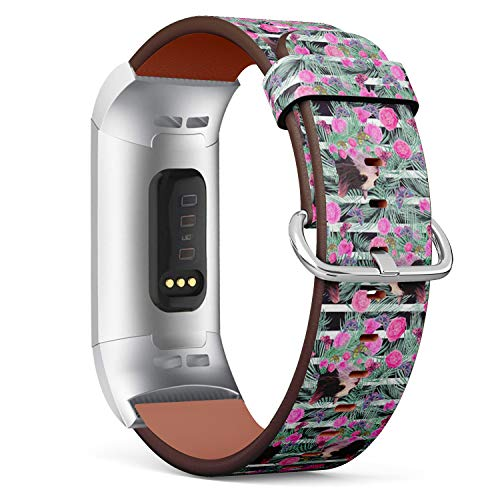 Compatible with Fitbit Charge 3 / Charge 3 SE - Leather Band Bracelet Strap Wristband Replacement with Adapters - Stylized Cat Heads Pink Rose