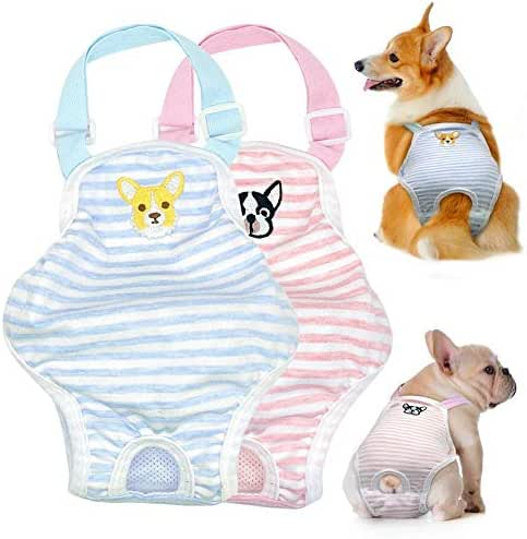 Stock Show Dog Cute Summer Cotton Stripe Sanitary Pantie with Adjustable Strap Suspender Physiological Pants Pet Underwear Diapers Jumpsuits for Girl Dogs Medium Large Corgi French Bulldog, Blue