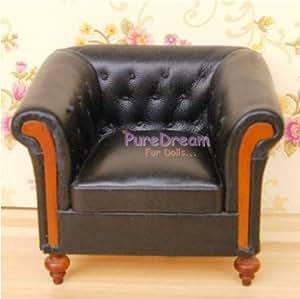 1:12 Dollhouse Living Room Furniture Set Black Leather Sofa Armchair